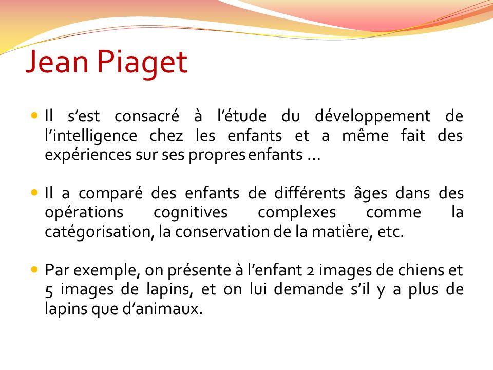 Jean Piaget Il sest consacré à létude du développement de lintelligence chez les enfants et a même fait des expériences sur ses propres enfants … Il a comparé des enfants de différents âges dans des opérations cognitives complexes comme la catégorisation, la conservation de la matière, etc.