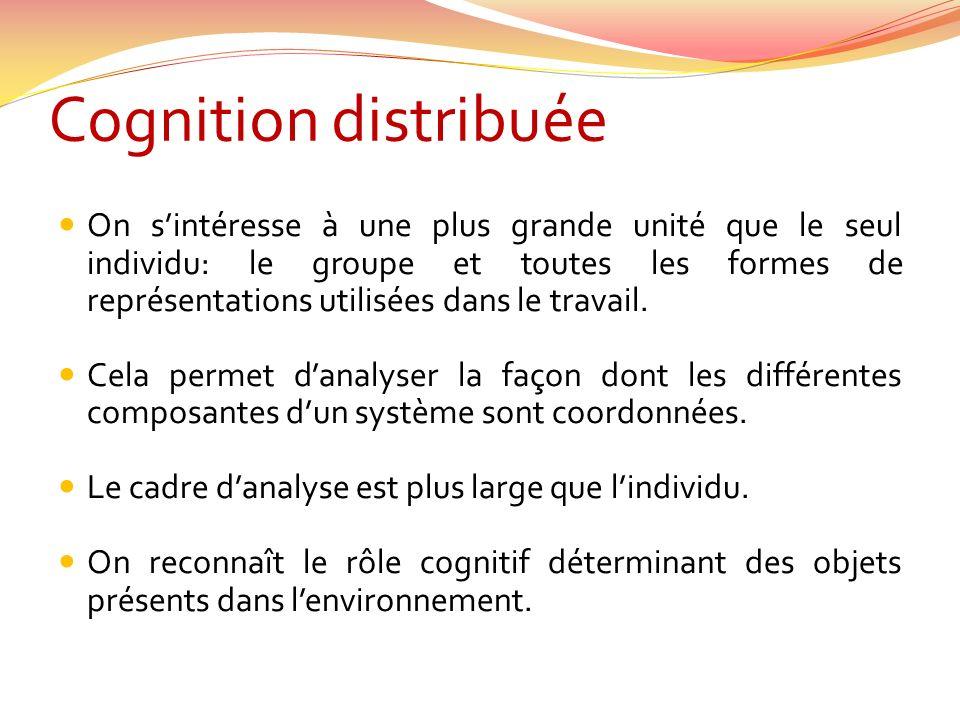 Cognition distribuée On sintéresse à une plus grande unité que le seul individu: le groupe et toutes les formes de représentations utilisées dans le travail.