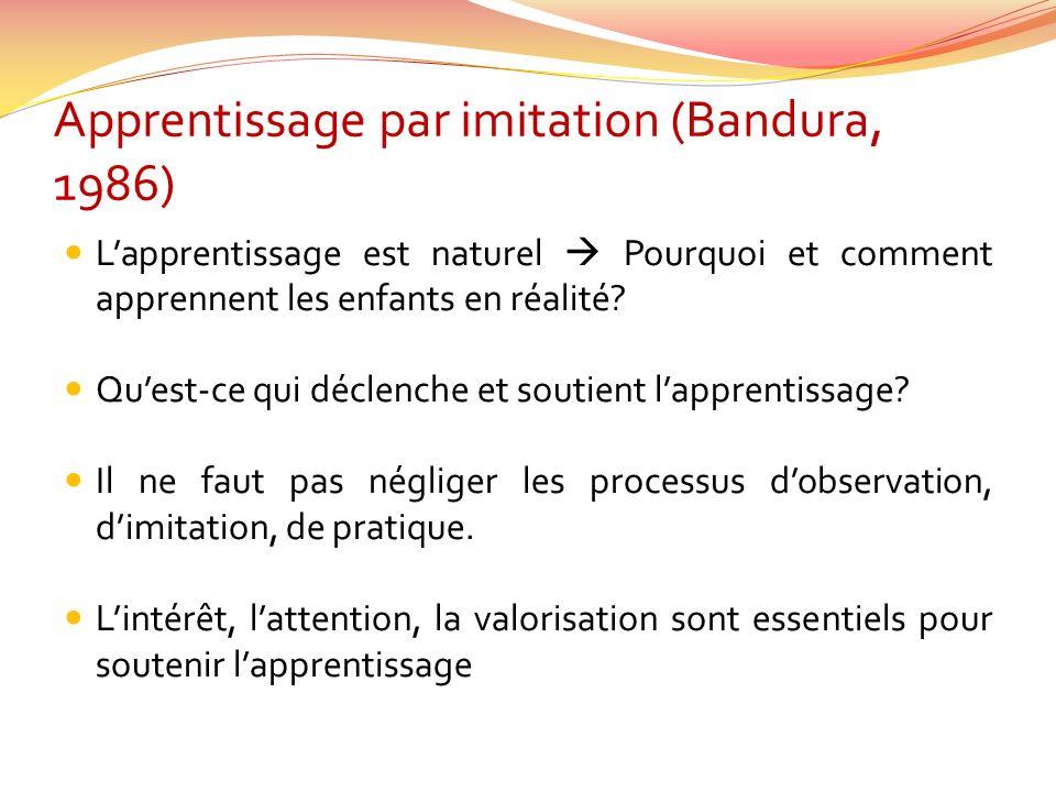 Apprentissage par imitation (Bandura, 1986) Lapprentissage est naturel Pourquoi et comment apprennent les enfants en réalité? Quest-ce qui déclenche e