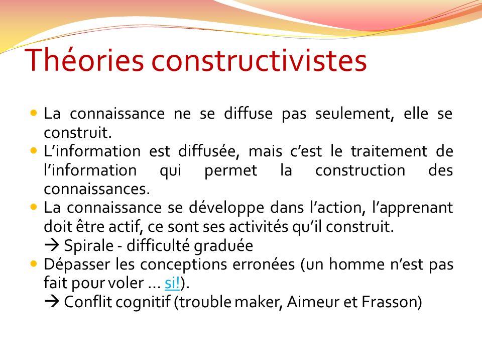 Théories constructivistes La connaissance ne se diffuse pas seulement, elle se construit. Linformation est diffusée, mais cest le traitement de linfor