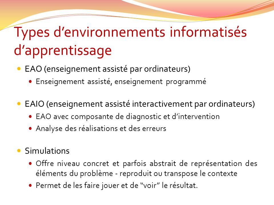 Types denvironnements informatisés dapprentissage EAO (enseignement assisté par ordinateurs) Enseignement assisté, enseignement programmé EAIO (enseig