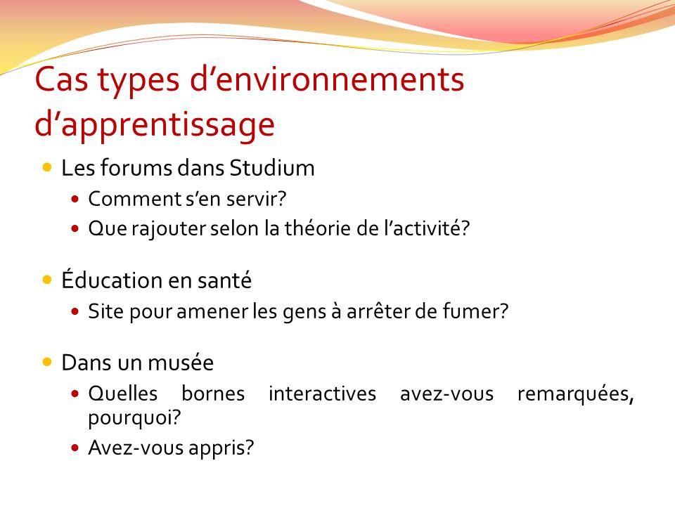 Cas types denvironnements dapprentissage Les forums dans Studium Comment sen servir.
