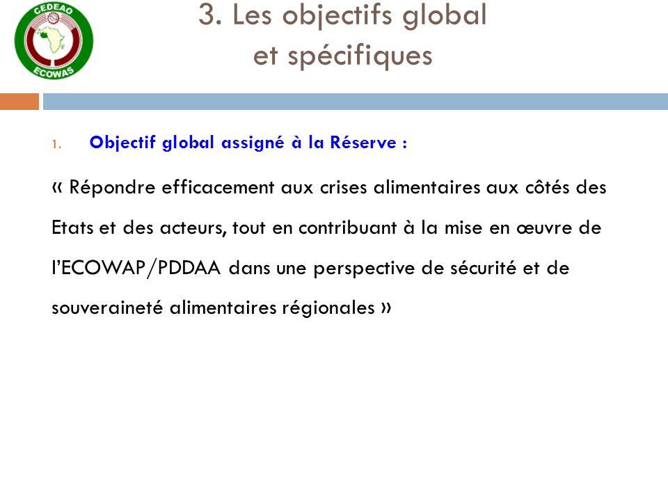 3. Les objectifs global et spécifiques 1. Objectif global assigné à la Réserve : « Répondre efficacement aux crises alimentaires aux côtés des Etats e