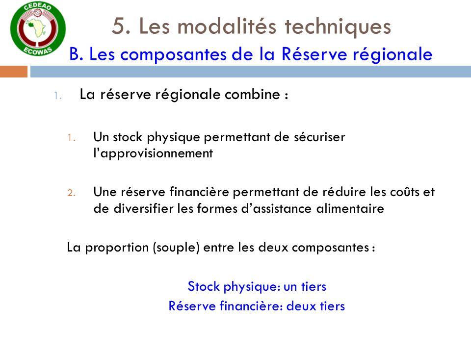 5. Les modalités techniques B. Les composantes de la Réserve régionale 1. La réserve régionale combine : 1. Un stock physique permettant de sécuriser