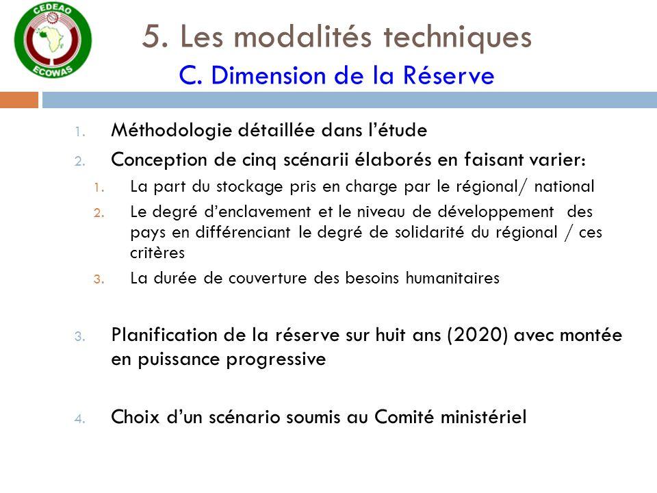 5. Les modalités techniques C. Dimension de la Réserve 1. Méthodologie détaillée dans létude 2. Conception de cinq scénarii élaborés en faisant varier