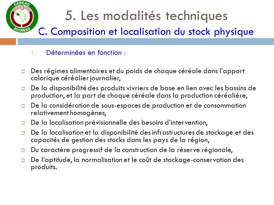 5. Les modalités techniques C. Composition et localisation du stock physique 1. Déterminées en fonction : Des régimes alimentaires et du poids de chaq