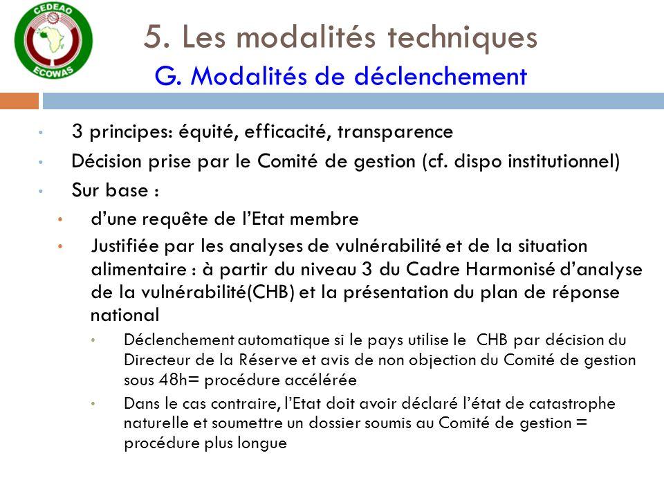 5. Les modalités techniques G. Modalités de déclenchement 3 principes: équité, efficacité, transparence Décision prise par le Comité de gestion (cf. d