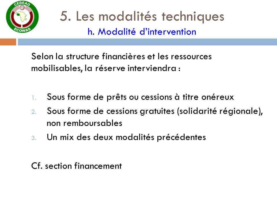 5. Les modalités techniques h. Modalité dintervention Selon la structure financières et les ressources mobilisables, la réserve interviendra : 1. Sous