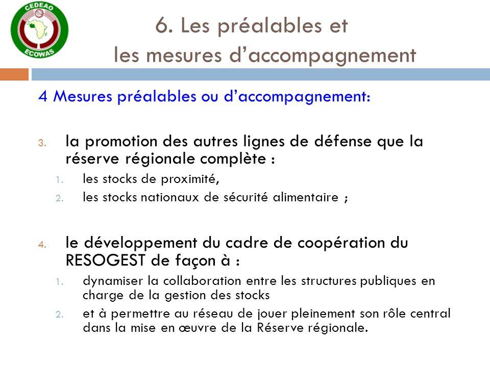 6. Les préalables et les mesures daccompagnement 4 Mesures préalables ou daccompagnement: 3. la promotion des autres lignes de défense que la réserve