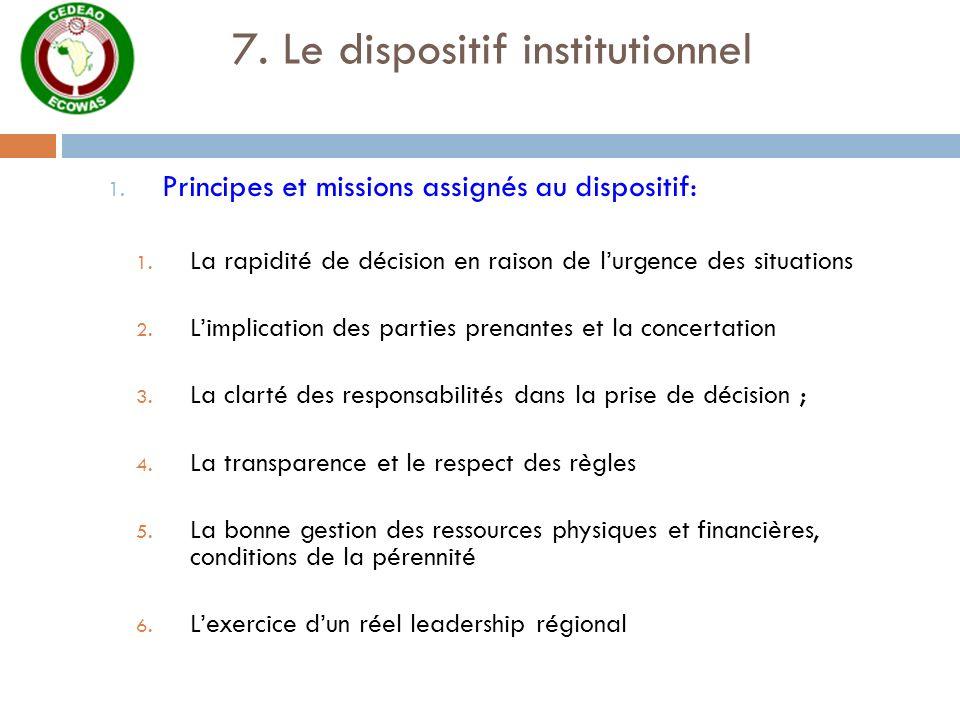 7. Le dispositif institutionnel 1. Principes et missions assignés au dispositif: 1. La rapidité de décision en raison de lurgence des situations 2. Li