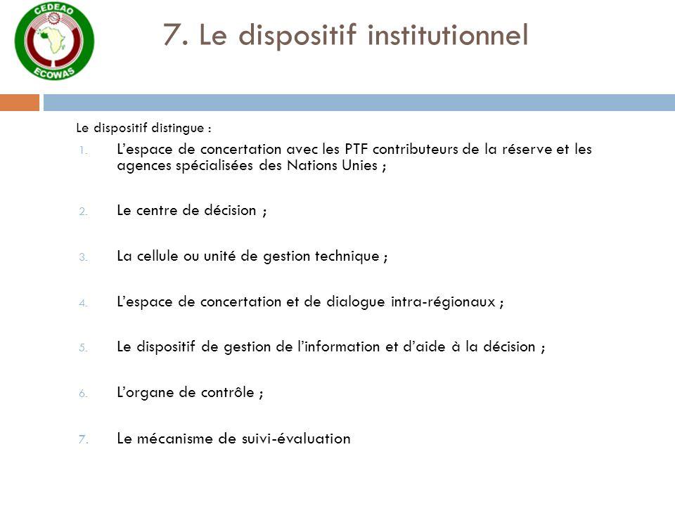 7. Le dispositif institutionnel Le dispositif distingue : 1. Lespace de concertation avec les PTF contributeurs de la réserve et les agences spécialis