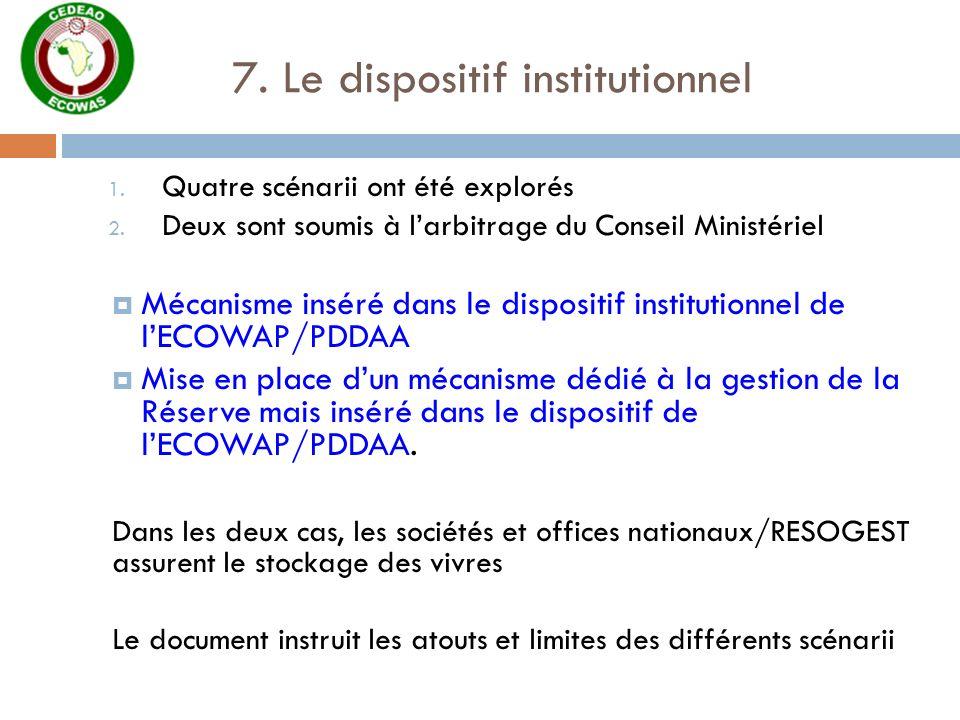 7. Le dispositif institutionnel 1. Quatre scénarii ont été explorés 2. Deux sont soumis à larbitrage du Conseil Ministériel Mécanisme inséré dans le d