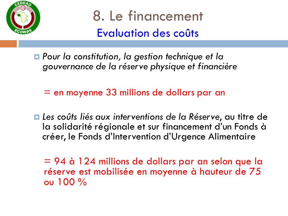 8. Le financement Evaluation des coûts Pour la constitution, la gestion technique et la gouvernance de la réserve physique et financière = en moyenne