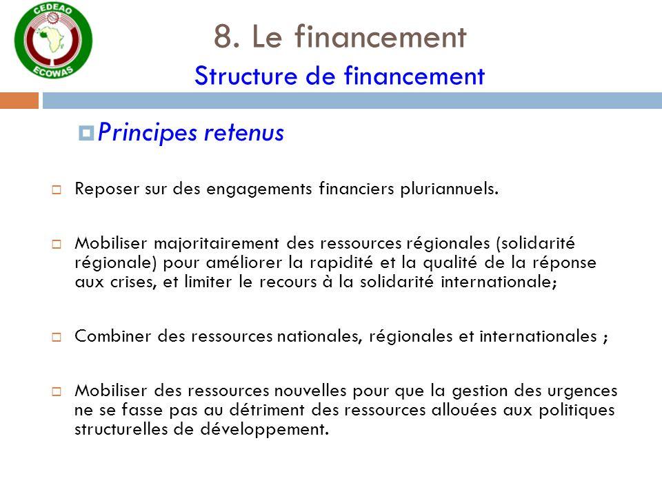 8. Le financement Structure de financement Principes retenus Reposer sur des engagements financiers pluriannuels. Mobiliser majoritairement des ressou