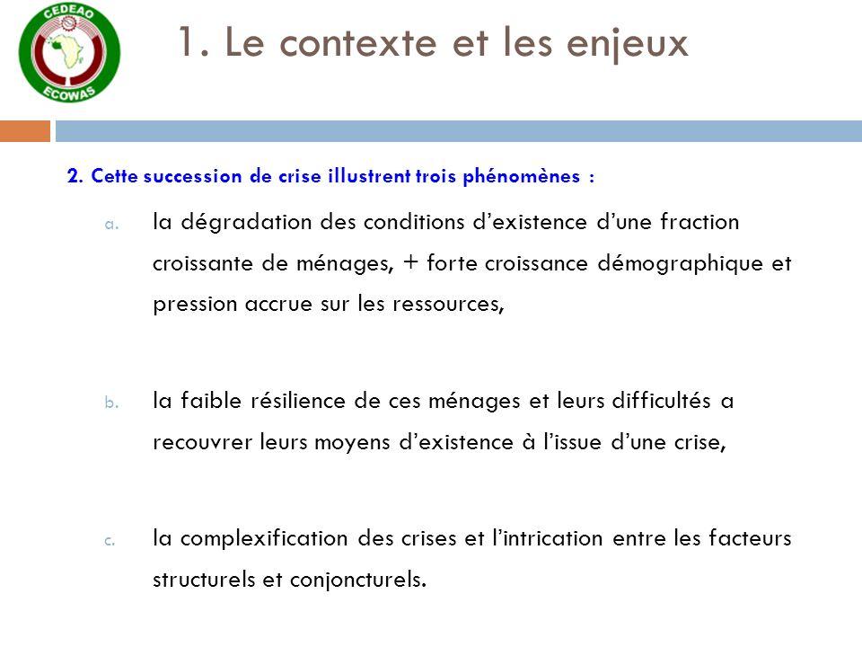 1. Le contexte et les enjeux 2. Cette succession de crise illustrent trois phénomènes : a. la dégradation des conditions dexistence dune fraction croi