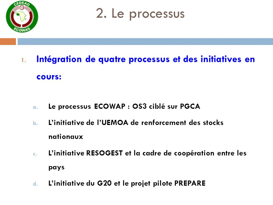 2. Le processus 1. Intégration de quatre processus et des initiatives en cours: a. Le processus ECOWAP : OS3 ciblé sur PGCA b. Linitiative de lUEMOA d