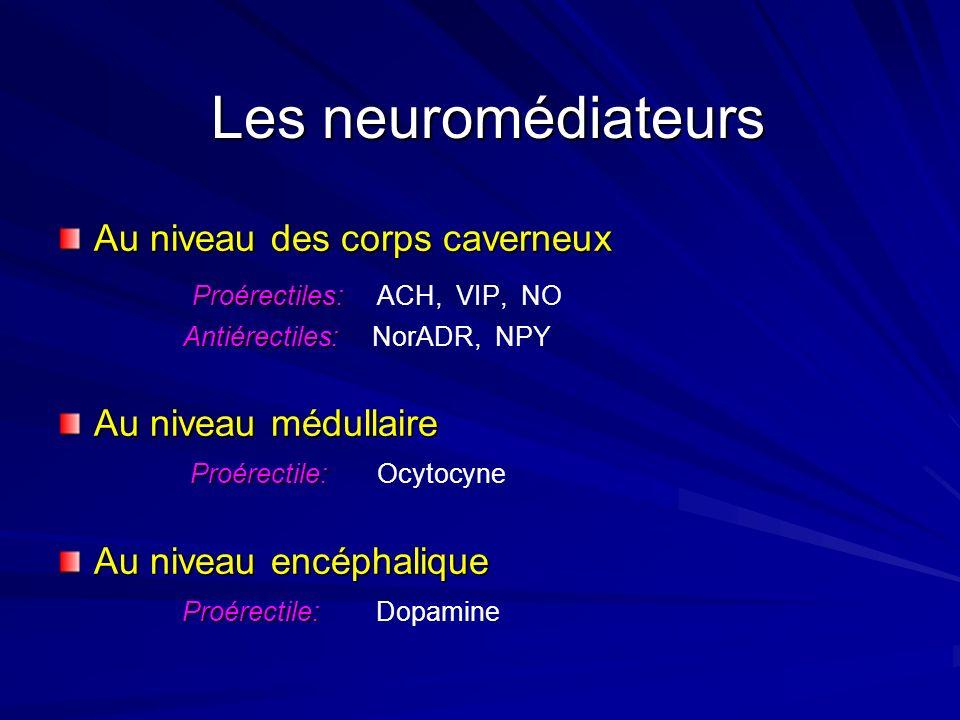 Dopamine Ocytocyne Proérectiles: ACH, VIP, NO Antiérectiles: NorADR, NPY