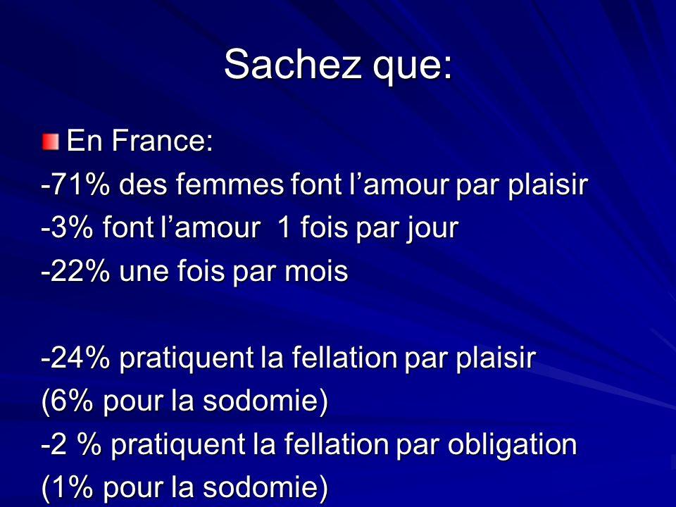 En France: -71% des femmes font lamour par plaisir -3% font lamour 1 fois par jour -22% une fois par mois -24% pratiquent la fellation par plaisir (6% pour la sodomie) -2 % pratiquent la fellation par obligation (1% pour la sodomie) Sachez que: