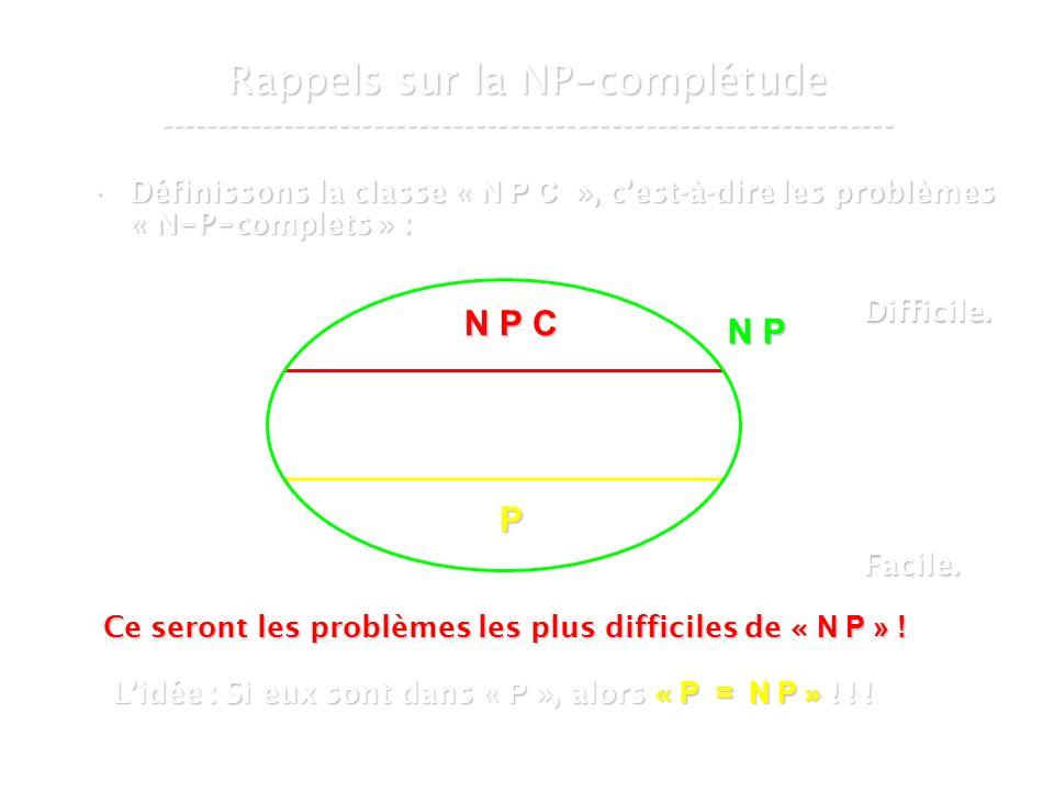16 mars 2007Cours de graphes 7 - Intranet10 Rappels sur la NP - complétude ----------------------------------------------------------------- Définissons la classe « N P C », cest-à-dire les problèmes « N - P - complets » :Définissons la classe « N P C », cest-à-dire les problèmes « N - P - complets » : N P P N P C Ce seront les problèmes les plus difficiles de « N P » .