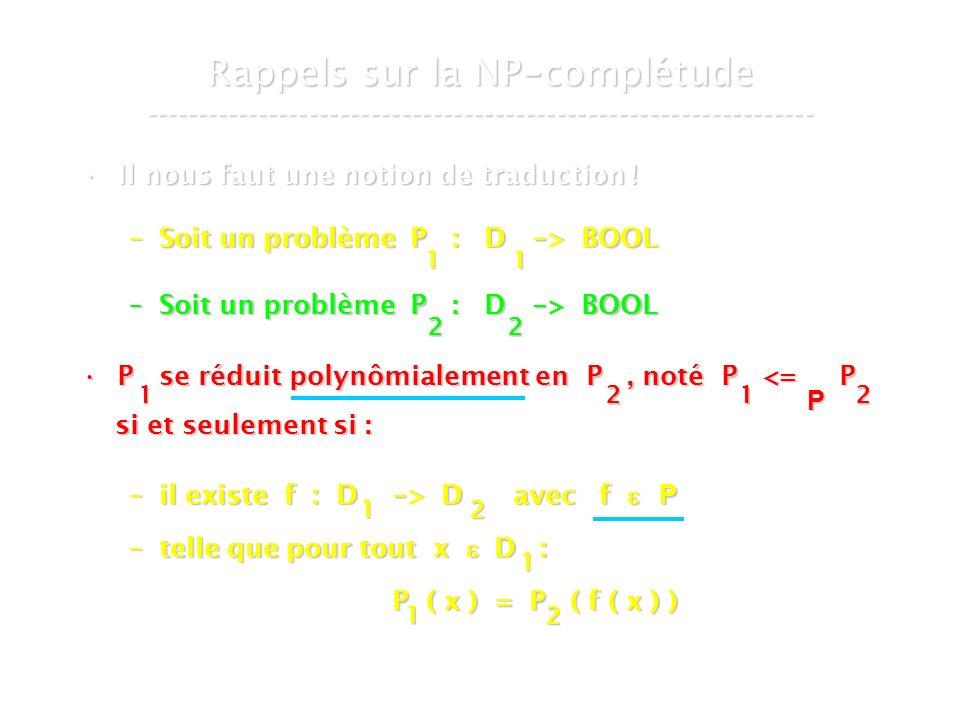 16 mars 2007Cours de graphes 7 - Intranet11 Rappels sur la NP - complétude ----------------------------------------------------------------- Il nous faut une notion de traduction !Il nous faut une notion de traduction .
