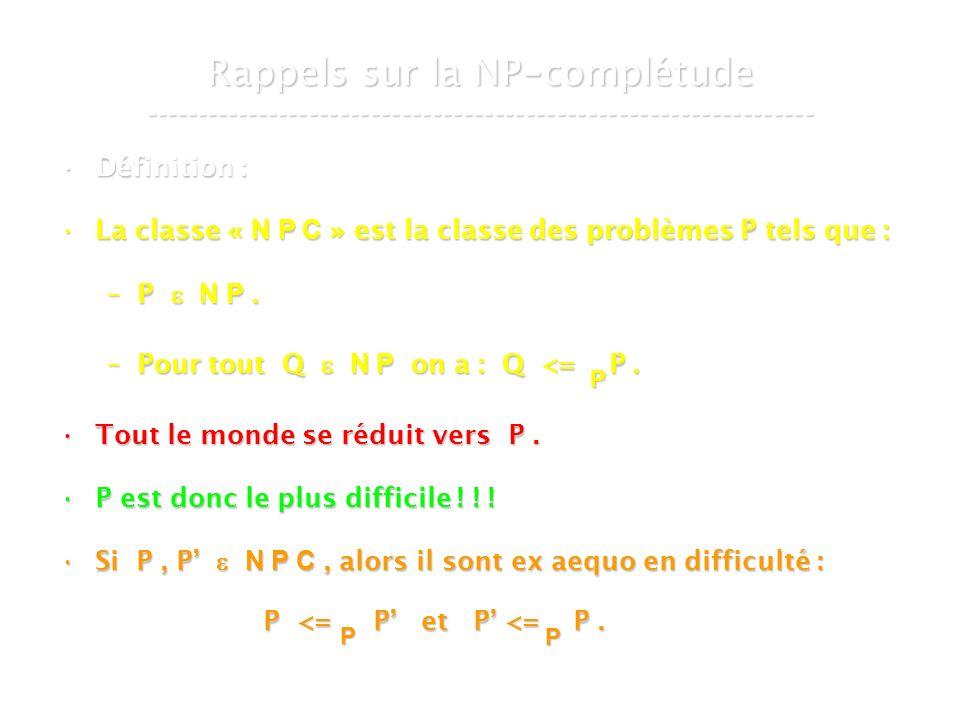 16 mars 2007Cours de graphes 7 - Intranet13 Rappels sur la NP - complétude ----------------------------------------------------------------- Définition :Définition : La classe « N P C » est la classe des problèmes P tels que :La classe « N P C » est la classe des problèmes P tels que : –P N P.