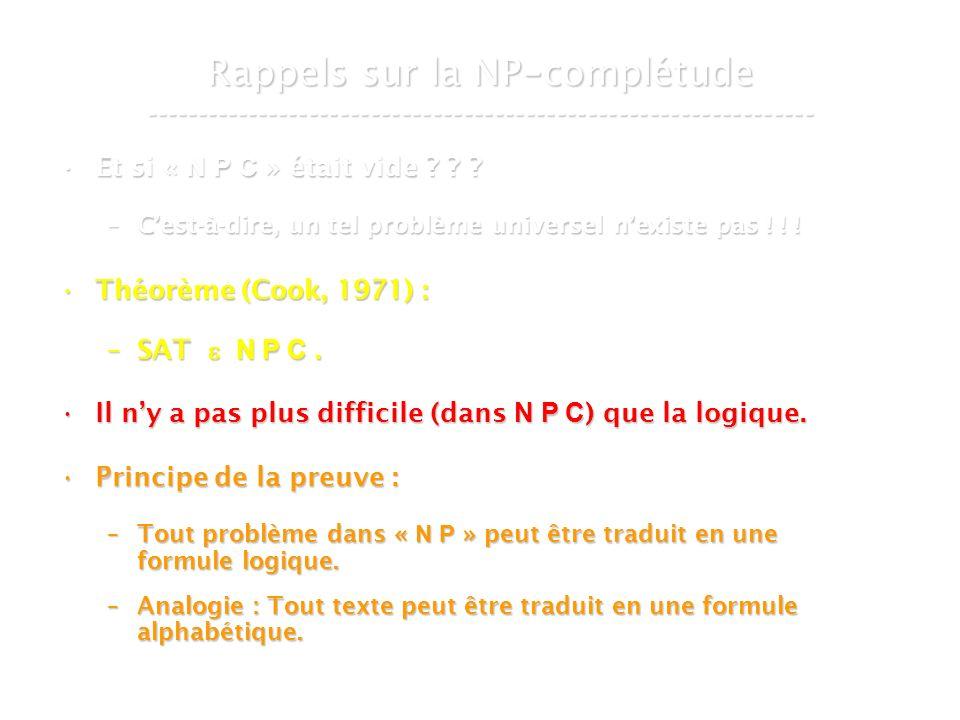 16 mars 2007Cours de graphes 7 - Intranet14 Rappels sur la NP - complétude ----------------------------------------------------------------- Et si « N P C » était vide .