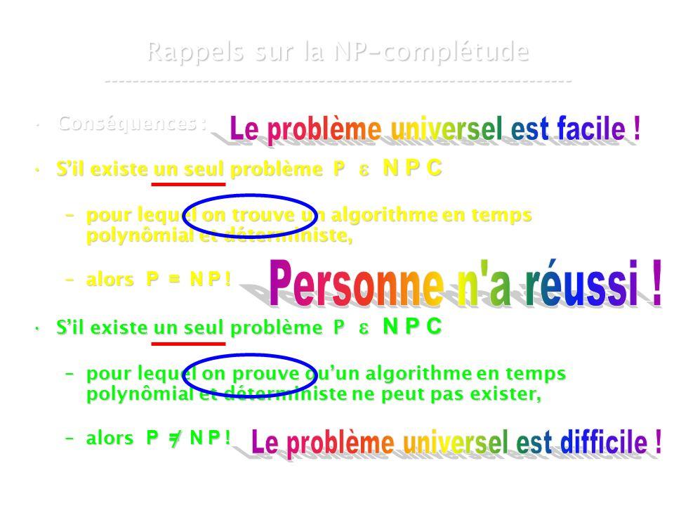 16 mars 2007Cours de graphes 7 - Intranet16 Conséquences :Conséquences : Sil existe un seul problème P N P CSil existe un seul problème P N P C –pour lequel on trouve un algorithme en temps polynômial et déterministe, –alors P = N P .