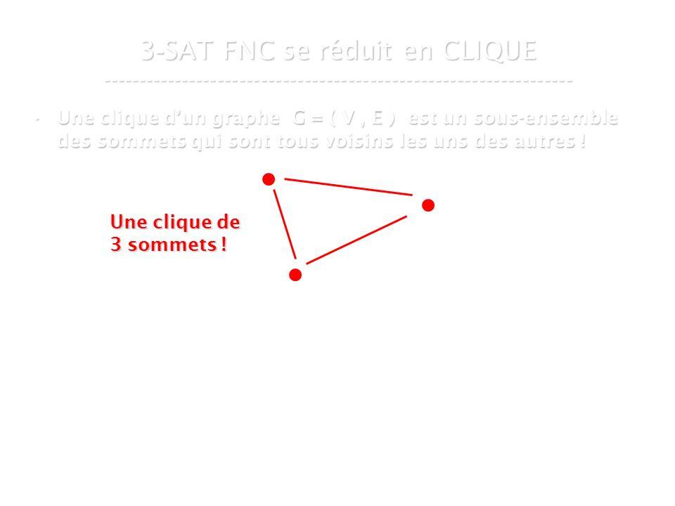 16 mars 2007Cours de graphes 7 - Intranet39 3 - SAT FNC se réduit en CLIQUE ----------------------------------------------------------------- Une clique dun graphe G = ( V, E ) est un sous-ensemble des sommets qui sont tous voisins les uns des autres !Une clique dun graphe G = ( V, E ) est un sous-ensemble des sommets qui sont tous voisins les uns des autres .
