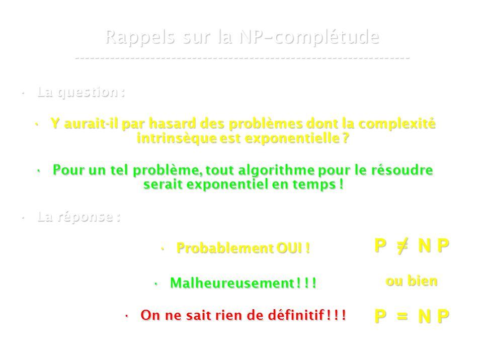 16 mars 2007Cours de graphes 7 - Intranet4 Rappels sur la NP - complétude ----------------------------------------------------------------- La question :La question : Y aurait-il par hasard des problèmes dont la complexité intrinsèque est exponentielle Y aurait-il par hasard des problèmes dont la complexité intrinsèque est exponentielle .