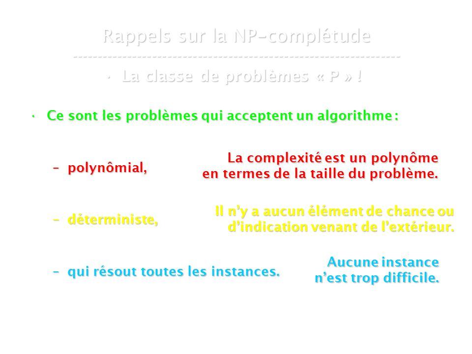 16 mars 2007Cours de graphes 7 - Intranet5 Rappels sur la NP - complétude ----------------------------------------------------------------- La classe de problèmes « P » !La classe de problèmes « P » .