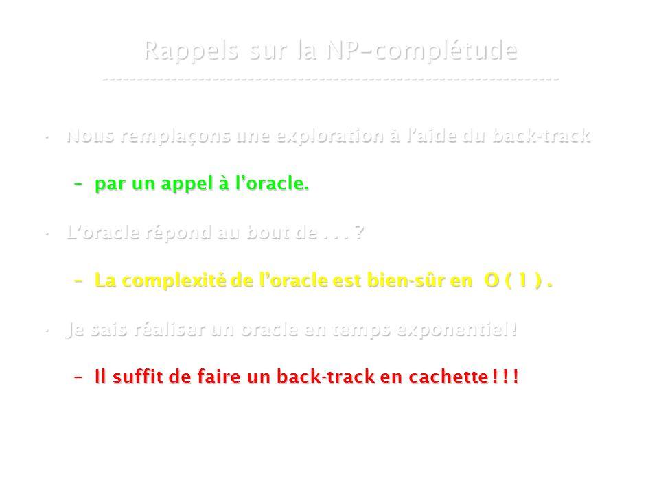 16 mars 2007Cours de graphes 7 - Intranet7 Rappels sur la NP - complétude ----------------------------------------------------------------- Nous remplaçons une exploration à laide du back-trackNous remplaçons une exploration à laide du back-track –par un appel à loracle.