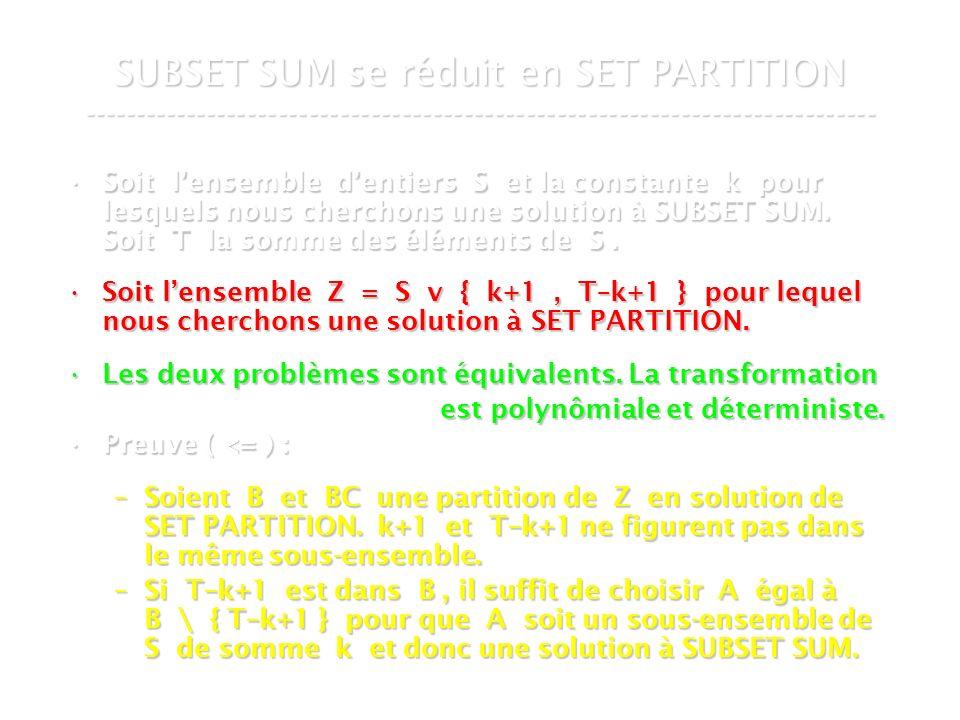 16 mars 2007Cours de graphes 7 - Intranet72 SUBSET SUM se réduit en SET PARTITION ----------------------------------------------------------------------------- Soit lensemble dentiers S et la constante k pour lesquels nous cherchons une solution à SUBSET SUM.