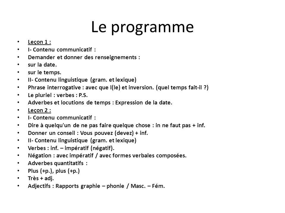 Le programme Leçon 1 : I- Contenu communicatif : Demander et donner des renseignements : sur la date. sur le temps. II- Contenu linguistique (gram. et
