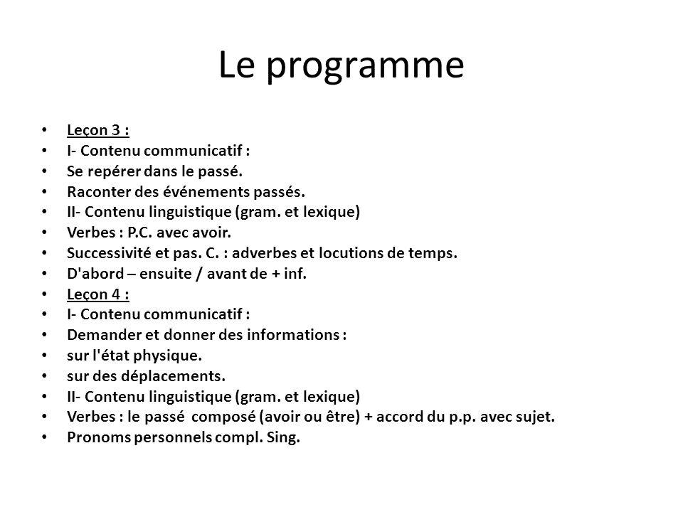 Le programme Leçon 3 : I- Contenu communicatif : Se repérer dans le passé. Raconter des événements passés. II- Contenu linguistique (gram. et lexique)