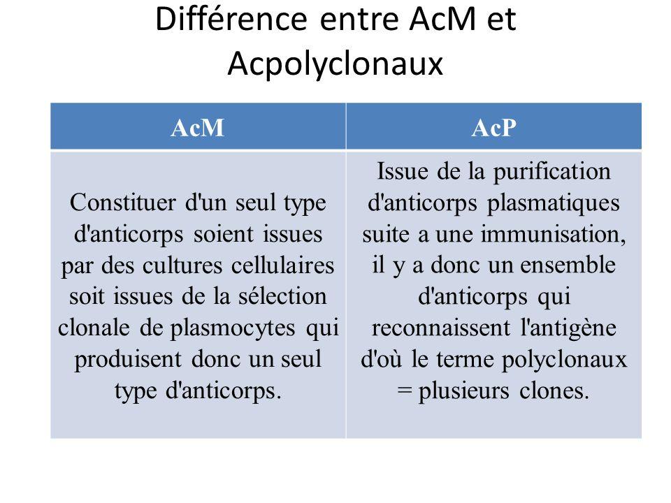 Différence entre AcM et Acpolyclonaux AcMAcP Constituer d un seul type d anticorps soient issues par des cultures cellulaires soit issues de la sélection clonale de plasmocytes qui produisent donc un seul type d anticorps.
