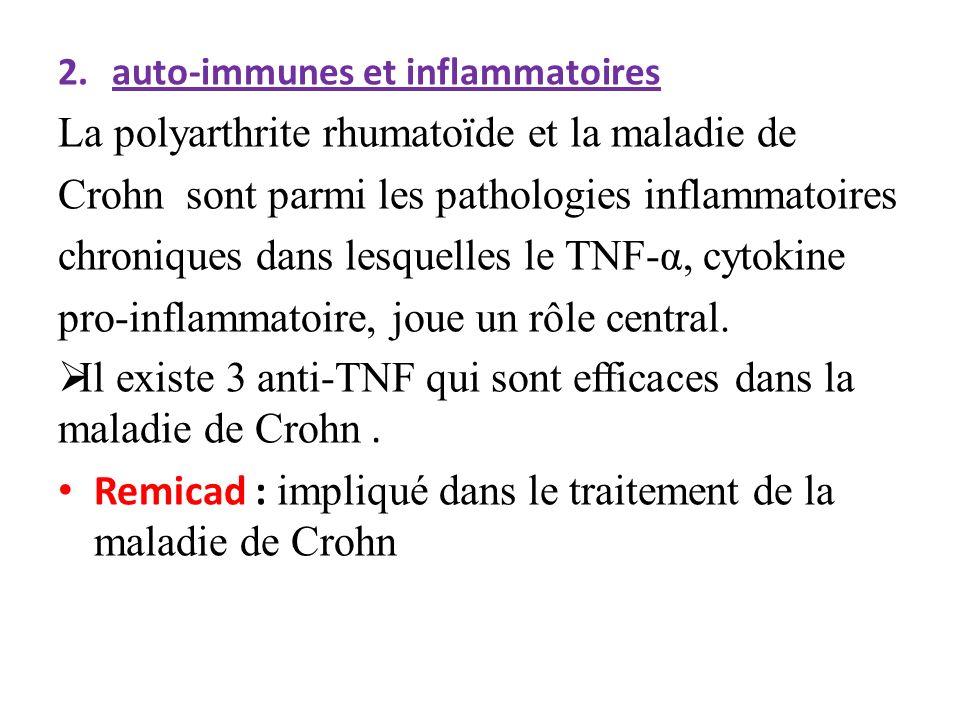 2.auto-immunes et inflammatoires La polyarthrite rhumatoïde et la maladie de Crohn sont parmi les pathologies inflammatoires chroniques dans lesquelle