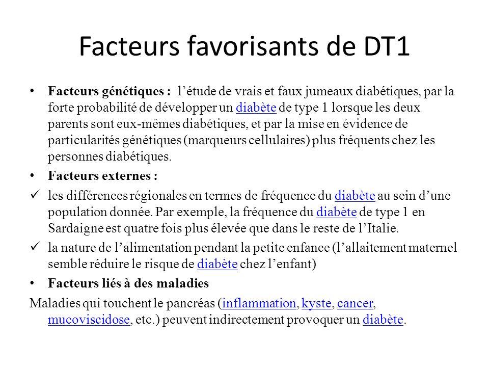 Facteurs favorisants de DT1 Facteurs génétiques : létude de vrais et faux jumeaux diabétiques, par la forte probabilité de développer un diabète de ty