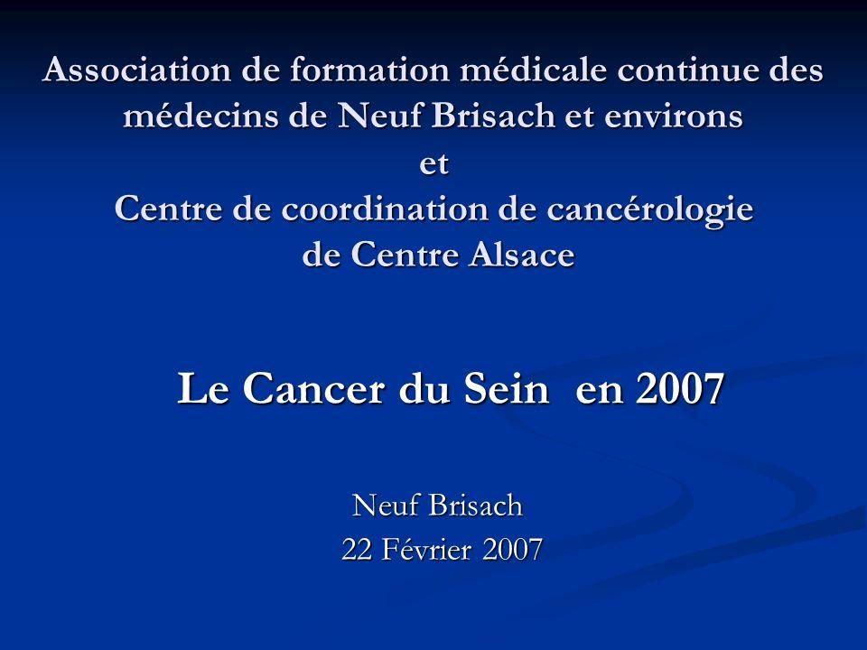 Répartition de lincidence et de la mortalité par cancers en Alsace (source : Registre des cancers du Bas-Rhin et du Haut-Rhin 1999) 3705 nouveaux cas Dont 1260 cancers sein 1641 décès Dont 279 par cancer sein