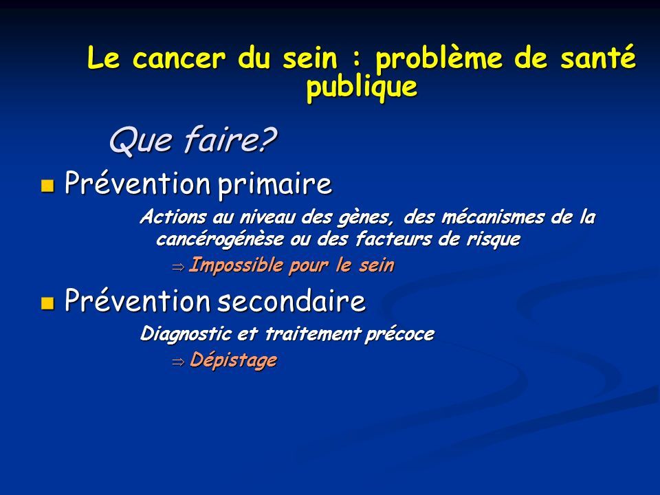Le cancer du sein : problème de santé publique Que faire? Prévention primaire Prévention primaire Actions au niveau des gènes, des mécanismes de la ca