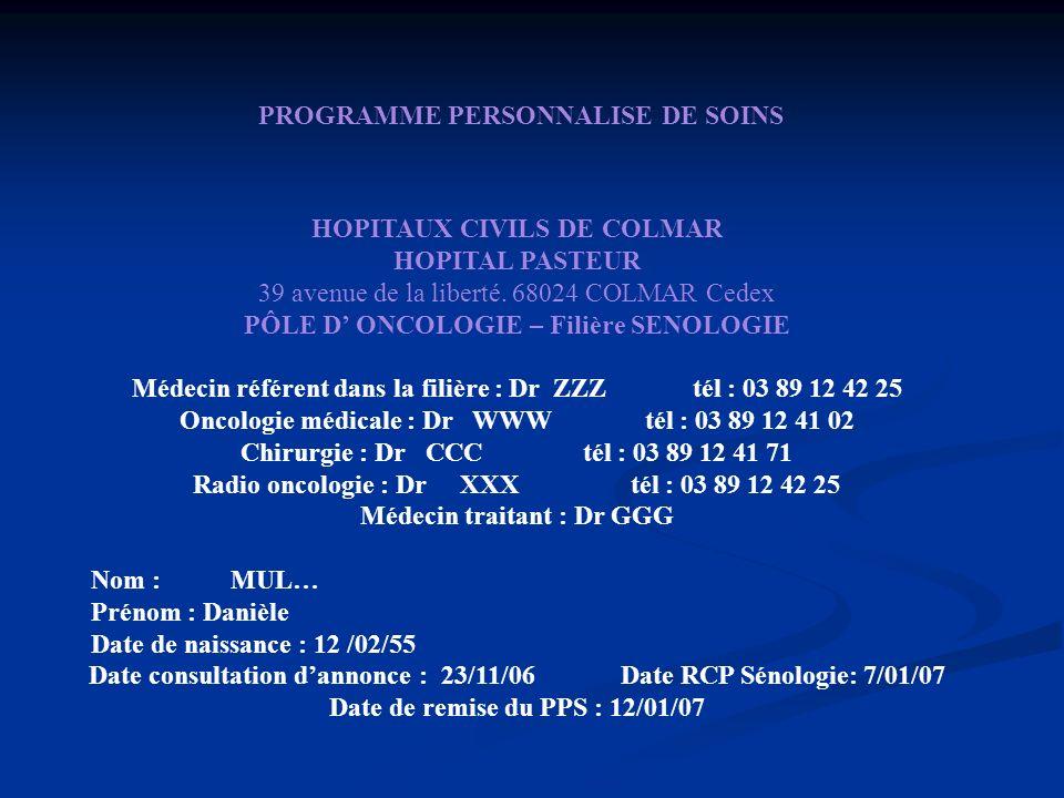 HOPITAUX CIVILS DE COLMAR HOPITAL PASTEUR 39 avenue de la liberté. 68024 COLMAR Cedex PÔLE D ONCOLOGIE – Filière SENOLOGIE Médecin référent dans la fi