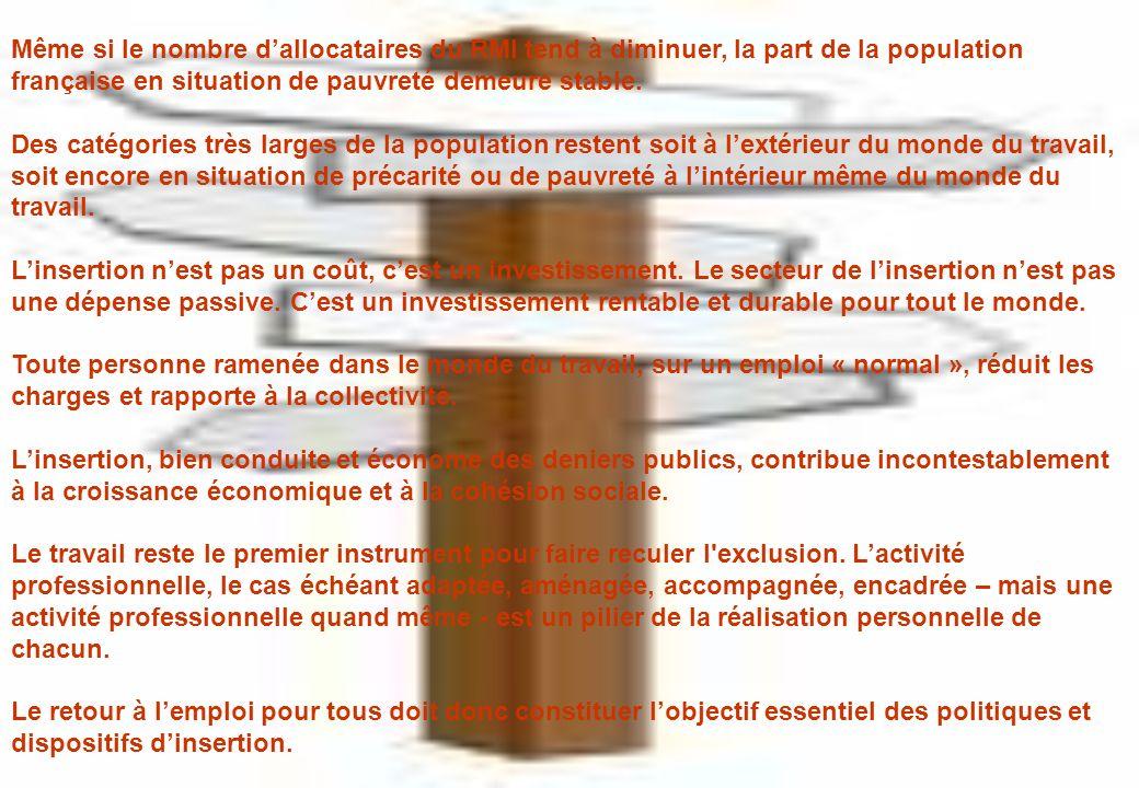 Même si le nombre dallocataires du RMI tend à diminuer, la part de la population française en situation de pauvreté demeure stable.