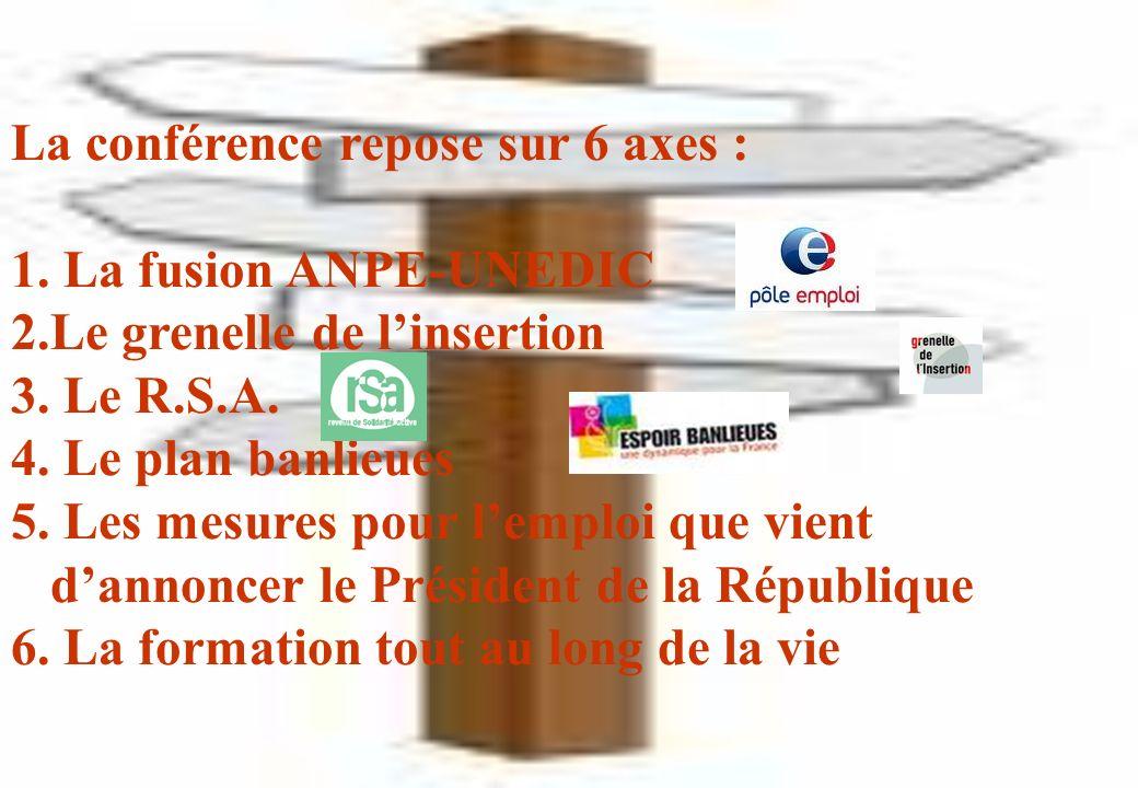 La conférence repose sur 6 axes : 1. La fusion ANPE-UNEDIC 2.Le grenelle de linsertion 3. Le R.S.A. 4. Le plan banlieues 5. Les mesures pour lemploi q