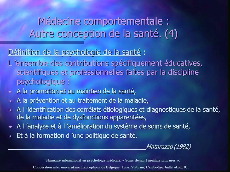 Séminaire international en psychologie médicale, « Soins de santé mentale primaires ». Coopération inter universitaire francophone de Belgique. Laos,