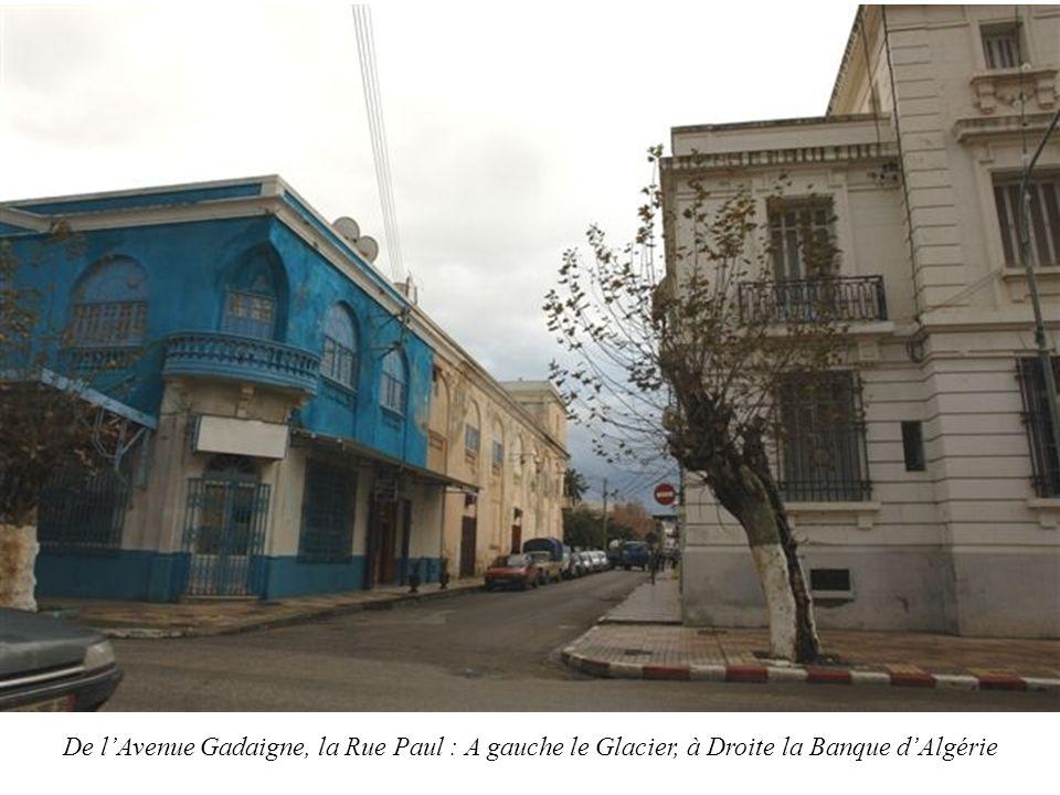 De lAvenue Gadaigne, la Rue Paul : A gauche le Glacier, à Droite la Banque dAlgérie