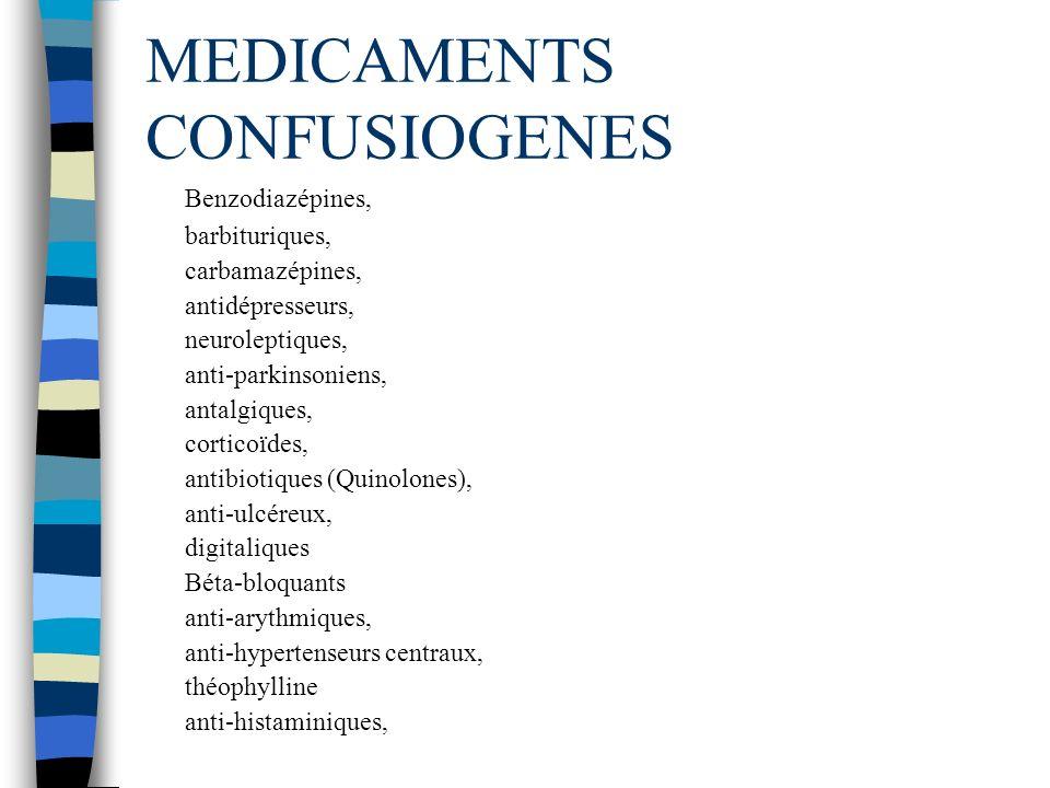 MEDICAMENTS CONFUSIOGENES Benzodiazépines, barbituriques, carbamazépines, antidépresseurs, neuroleptiques, anti-parkinsoniens, antalgiques, corticoïde