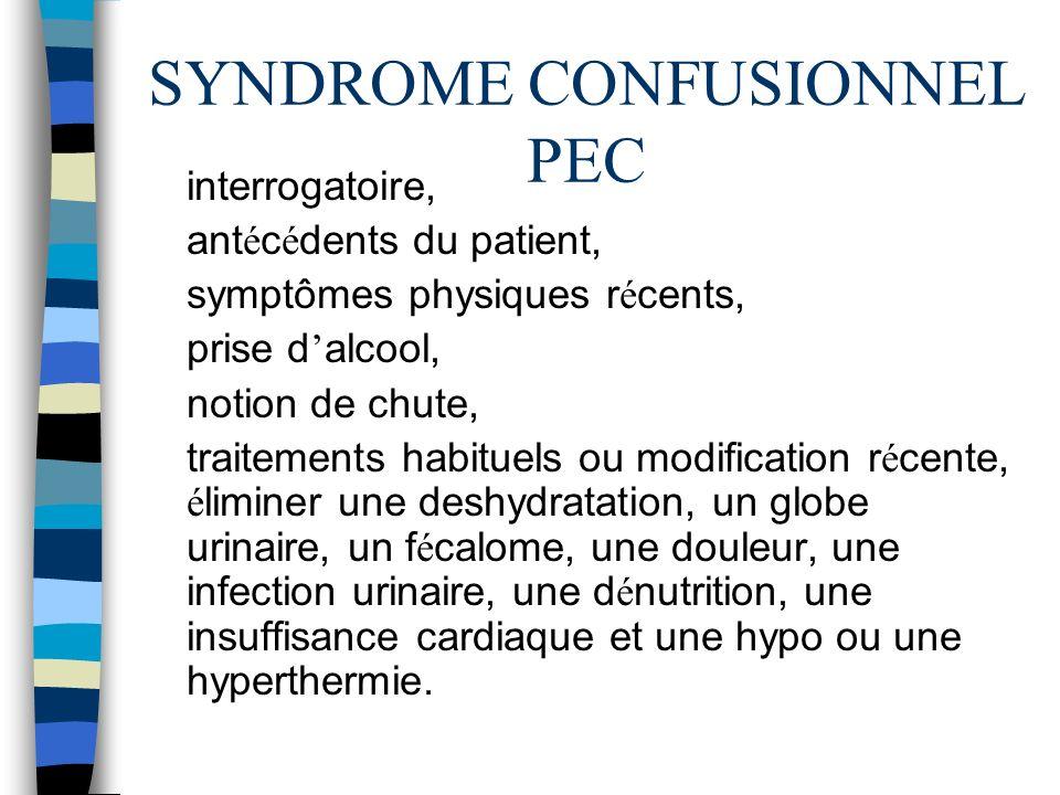 SYNDROME CONFUSIONNEL PEC interrogatoire, ant é c é dents du patient, symptômes physiques r é cents, prise d alcool, notion de chute, traitements habi