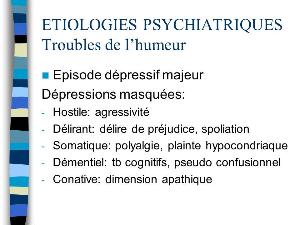 ETIOLOGIES PSYCHIATRIQUES Troubles de lhumeur Episode dépressif majeur Dépressions masquées: - Hostile: agressivité - Délirant: délire de préjudice, s