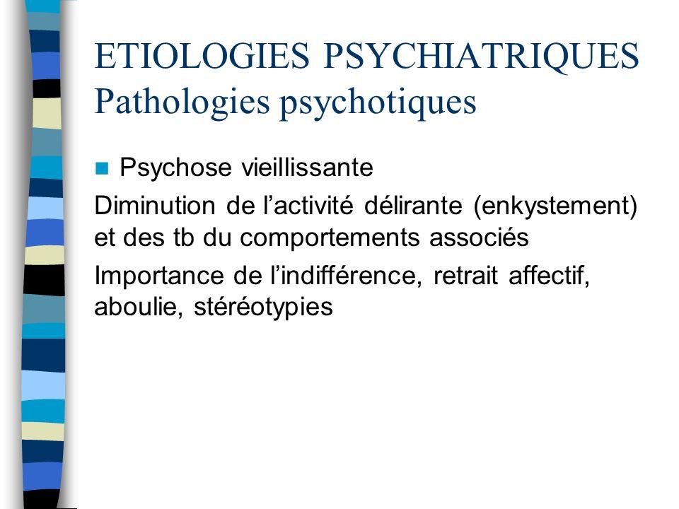 ETIOLOGIES PSYCHIATRIQUES Pathologies psychotiques Psychose vieillissante Diminution de lactivité délirante (enkystement) et des tb du comportements a