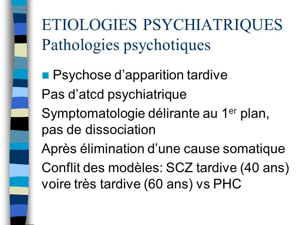 ETIOLOGIES PSYCHIATRIQUES Pathologies psychotiques Psychose dapparition tardive Pas datcd psychiatrique Symptomatologie délirante au 1 er plan, pas de