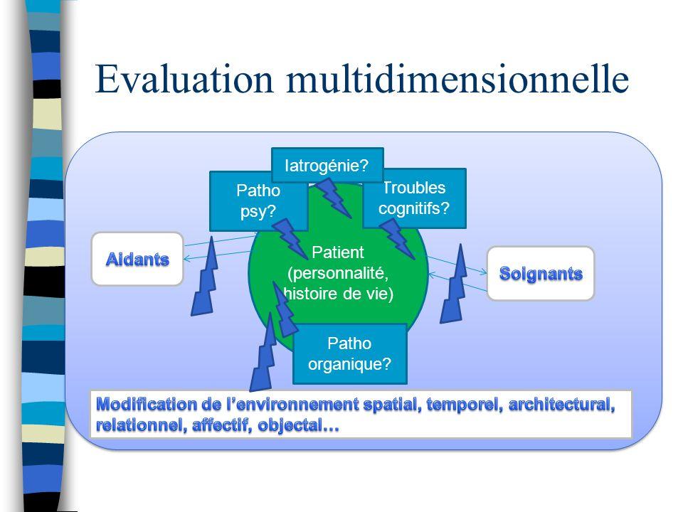 Evaluation multidimensionnelle Patient (personnalité, histoire de vie) Patho psy? Patho organique? Troubles cognitifs? Iatrogénie?